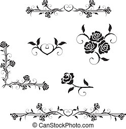 Roses - Rose flowers with vintage elements vector