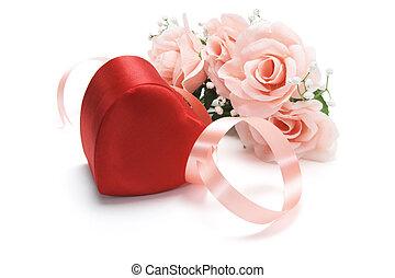 roses roses, boîte, cadeau