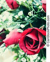 roses rouges, bouquet, pour, vendange