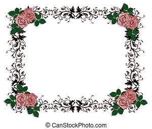 roses rouges, décoratif, frontière