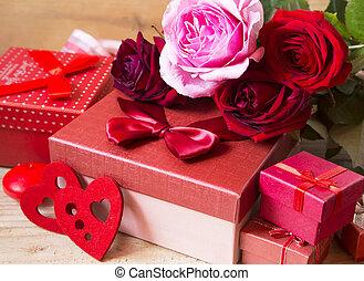 roses rouges, et, dons, pour, jour valentine