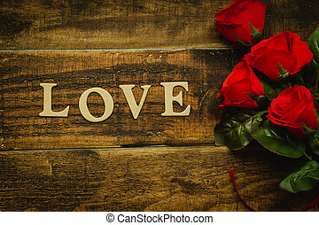 roses rouges, pour, valentine´s, jour