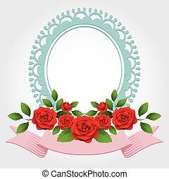 Roses Round-Shaped Frame, Border