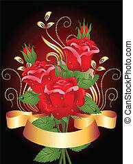 roses, ruban, doré