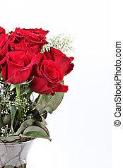 roses, saint-valentin, rouges, vase