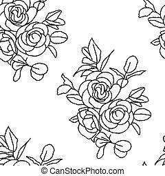 roses., seamless, baggrund