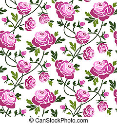 Roses seamless pattern - Romantic red roses seamless...