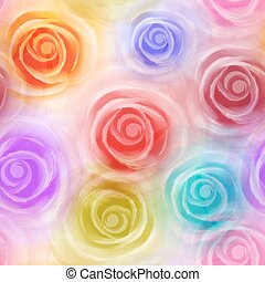 Roses seamless pattern, colorful. Vector, EPS10.