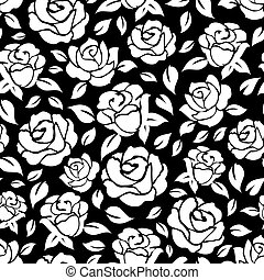 Roses seamless pattern on black backdrop