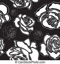 Roses seamless pattern - Seamless pattern, white roses on a...