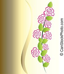 Roses silhouette on gold background