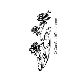 Silhouette of Roses in old fashioned art to say I love you