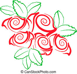 Roses Stylized - illustration of stylized horse head with ...