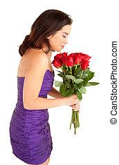 roses, tenue femme, sentir