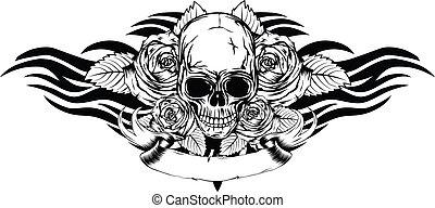roses, tribal, crâne