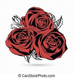 roses, vecteur, arrière-plan., blanc rouge