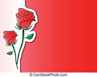 roses, vecteur, fond