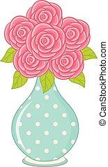 roses, vecteur, vase