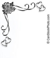Corner design element for Valentine or wedding background, stationery, border or frame with Roses, ribbons and copy space.