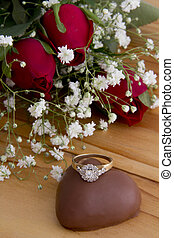 Roses with a Heart Chocolate and a Diamond Ring