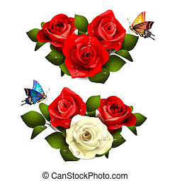 Roses on grass with butterflies and rainbow.