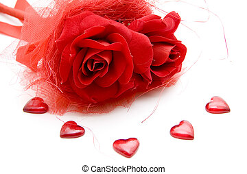 Roses with glass of heart