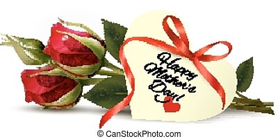 Roses with Happy Mother's Day gift card. Vector.