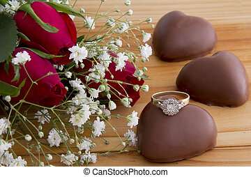 Roses with Heart Chocolates and a Diamond Ring