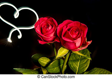 Roses with light heart