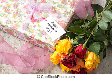 """Roses, Wrapped Present, and a """"Happy Mother's Day"""" Card"""