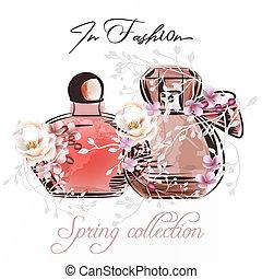 roses.eps, mode, paar, abbildung, parfümflasche