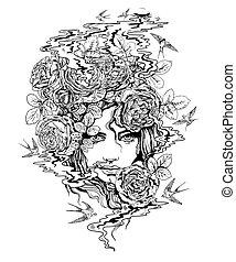 roses.eps, ragazza