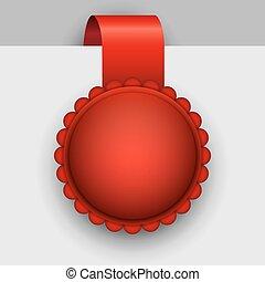 rosette, étiquette, vecteur, vide, template., rouges