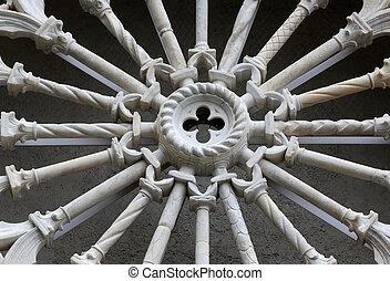 Rosette at the Church of St. John the Baptist in Riomaggiore, Liguria, Italy