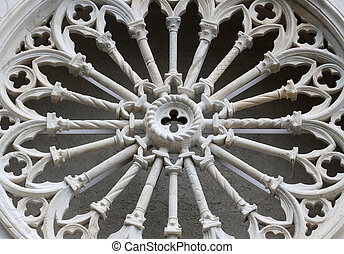 Rosette at the Church of St. John the Baptist in Riomaggiore, Liguria, Italy