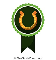 rosette badge with horseshoe luck emblem