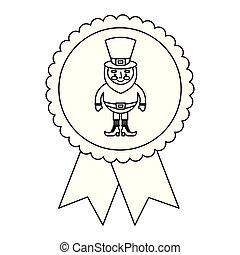 rosette badge with leprechaun st patricks cartoon