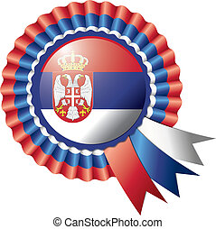 Rosette flag - Detailed rosette flag of Serbia, eps10 vector...