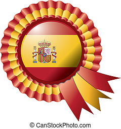 Rosette flag - Detailed rosette flag of Spain, eps10 vector...