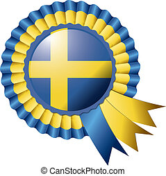Rosette flag - Detailed rosette flag of Sweden, eps10 vector...