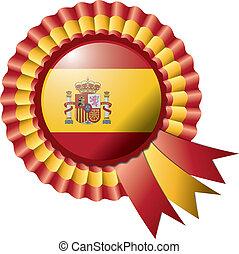Rosette flag - Detailed rosette flag of Spain, eps10 vector...