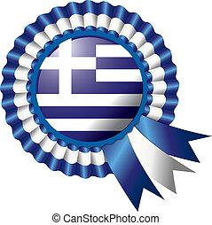 Rosette flag - Detailed rosette flag of Greece, eps10 vector...