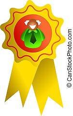 rosette man - a man inside the rosette award - icon people...