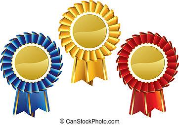 Rosette Medals - Award rosette medal set
