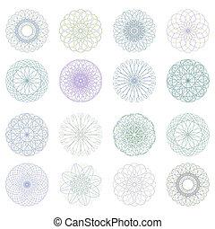 rosette, pattern., eps, guilloche, vecteur, 8