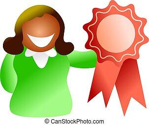 rosette winner - ethnic woman holding up a red rosette -...