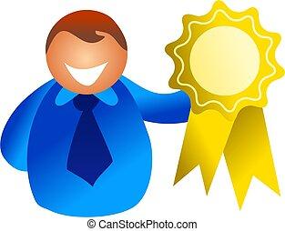 rosette winner - man holding up a gold rosette - icon people...