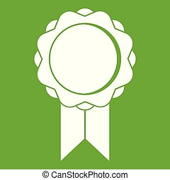 Rosette with ribbon icon green