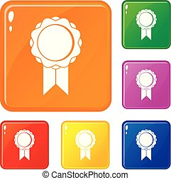 Rosette with ribbon icons set vector color