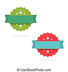 Rosette with ribbon icons vector set isolated on white, flat style or sale tag or badge, idea of quality or warranty stickers with empty blank space